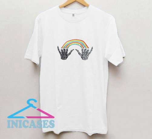Rainbow Skeleton Hand T Shirt
