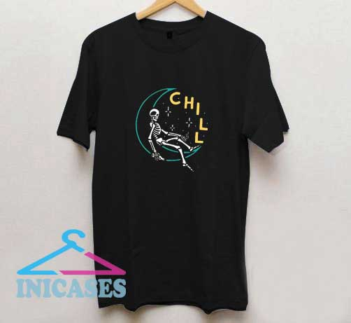 Skeleton Chill The Moon T Shirt