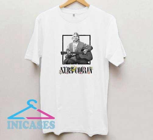 Kurt Cobain Flower Guitar Photo T Shirt
