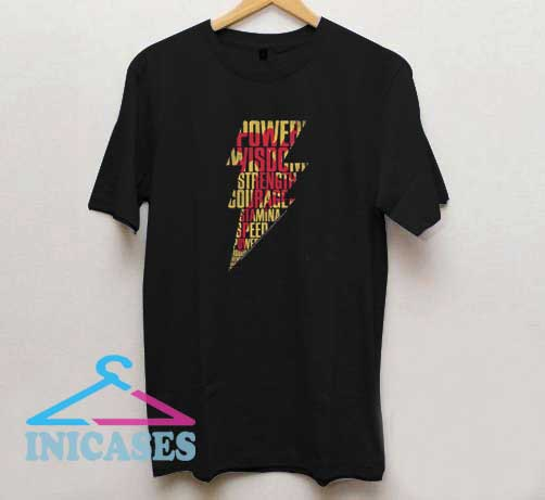 Shazam Bolt Word Collage T Shirt