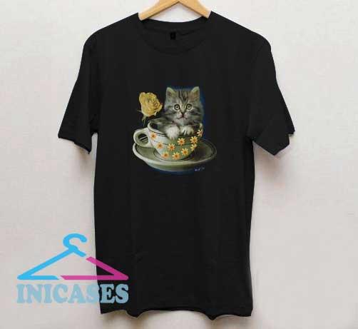 Cute Cat In Tea Cup Print T Shirt